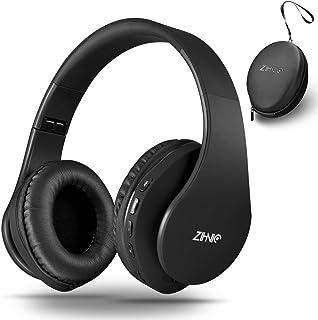 Auriculares inalámbricos Bluetooth sobre la oreja con graves profundos, auriculares estéreo inalámbricos plegables y con cable para teléfono celular, PC, TV, PC, PC, peso ligero para uso prolongado (negro)