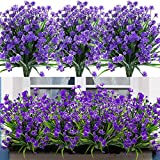 Leixi Artificial Flowers, 6pcs Fake Outdoor UV Resistant Plants Faux Plastic Greenery Shrubs Indoor Outside Hanging Planter Home Kitchen Office Wedding Garden Decor (Purple)
