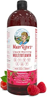 Morning Liquid Vitamins by MaryRuth's (Raspberry) Vegan Multivitamin A B C D3 E Trace Minerals & Amino Acids for Energy, H...
