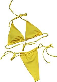 N-B Bikinis Mujer 2021 Verano Halter Abierto Corte Flores Estampado Trajes de Baño de Dos Piezas Extrema Simplicidad Ropa ...