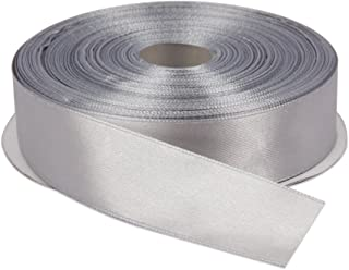 Topenca Supplies 1 Inch x 50 Yards Double Face Solid Satin Ribbon Roll, Silver