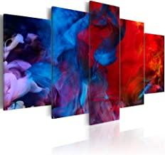 """Contemporary Canvas Wall Art Red Purple Blue Colorful Smoke Painting Modern Artwork Picture Framed 5 Piece Picture Office Home Decoration (Huge W80"""" x H40"""")"""