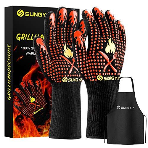 SUNGYIN Grillhandschuhe,BBQ Gloves,Ofenhandschuhe Backhandschuhe Hitzefeste Handschuhe Kaminhandschuhe bis zu 800°C,Zum Grillen,Kochen,Schweißen,Feuerplatz