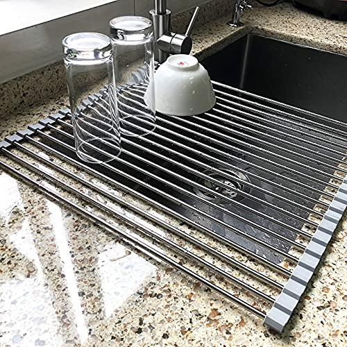 17.7' x 15.5' Large Dish Drying Rack, Attom Tech Home Roll Up Dish Racks Multipurpose Foldable Stainless Steel Over Sink Kitchen Drainer Rack for Cups Fruits Vegetables