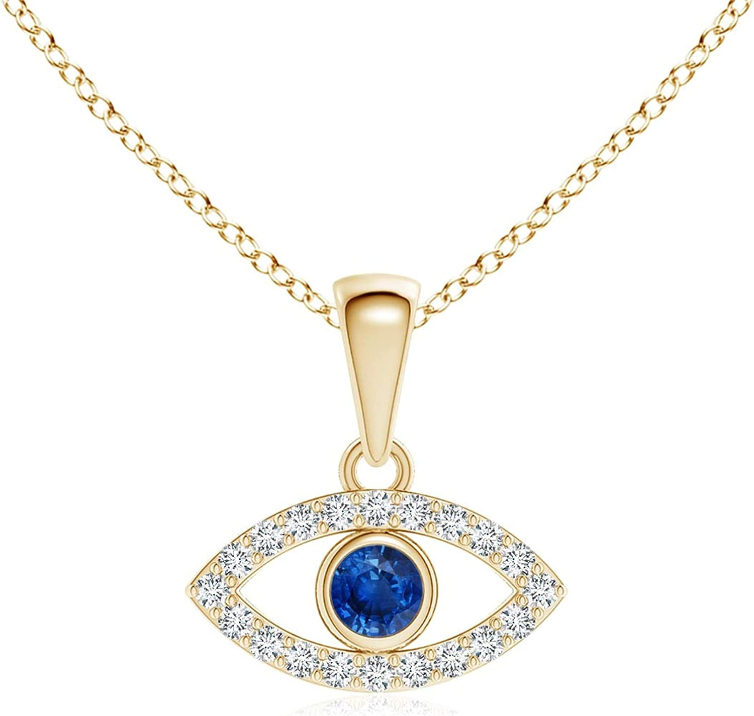 Blue Bargain Sapphire Evil Eye Pendant Diamond with 2.5mm Ranking TOP3 Accents