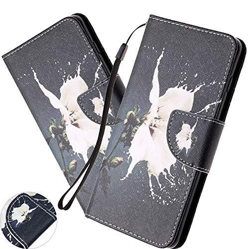 Preisvergleich Produktbild HMTECH Galaxy A80 Hülle, Samsung Galaxy A80 Handyhülle Schmetterling Blume Mädchen Flip Case PU Leder Cover Magnet Schutzhülle Tasche Skin Ständer Handytasche für Samsung Galaxy A80, HX White Flower