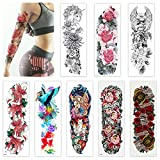 Aresvns Temporary Tattoo for Women Teens Girls and Kids 8 Sheets,Realistic Full Arm Fake Tattoo Flowers,Sleeve Tattoo Stickers Long-Lasting and Waterproof