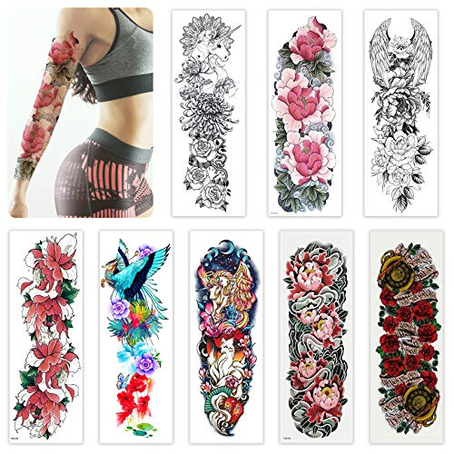 Sleeve Tattoo Temporary 8 Sheets for Women Teens Girls, Full Arm Leg Temporary Tattoo Flowers,Realistic Body Art Rose Tattoo Stickers Long-Lasting and Waterproof