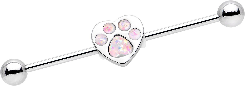 Body Candy Steel Iridescent Paw Print Heart Industrial Barbell Piercing 14 Gauge 38mm