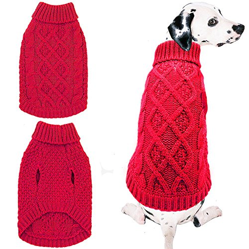 Mihachi Dog Sweater - Winter Coat Apparel Classic Cable Knit Clothes for Cold Winter,Red,SM