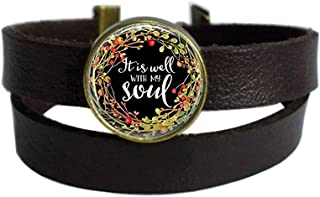 Vintage Punk Dark Brown Leather Bracelet It is Well with My Soul Religious Bible Quote Belt Wrap Cuff Bangle Adjustable