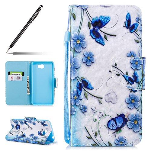Uposao Kompatibel mit Huawei Y6 II Compact Tasche Leder Flip Hülle Ledertasche Handyhülle Handytasche Schutzhülle Bookstyle Klapphülle Kartenfach Magnetverschluss,Blau Blumen Schmetterling
