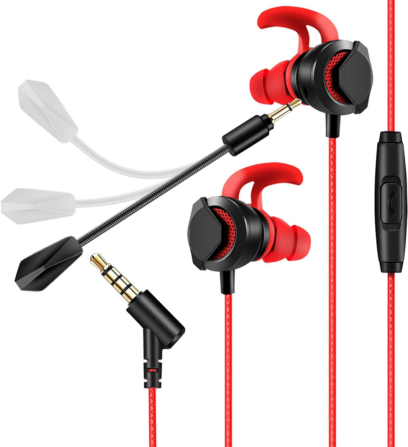 in-Ear Gaming Headphones with Dual Mic, AGPTEK 3.5MM Wired Earbuds Gaming Earphones with 3 Pairs Different Sizes Earbuds for PS4, Xbox, PC, Laptop, Mobile Phone, Red