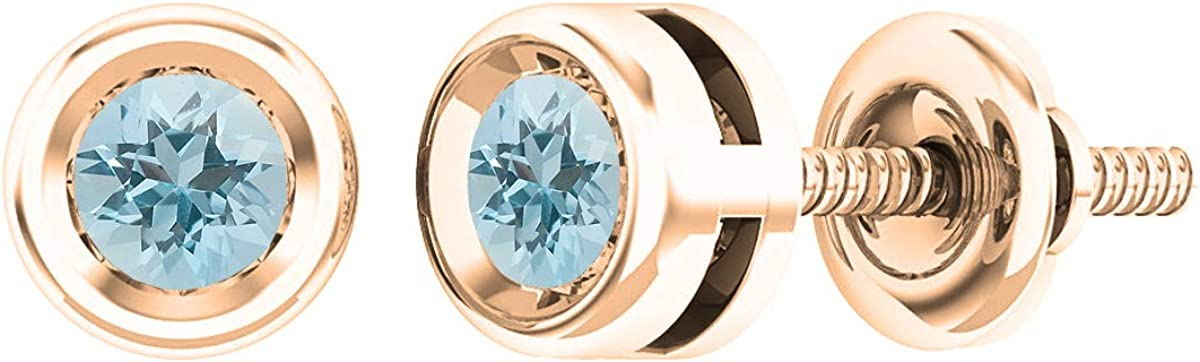 Dazzlingrock Collection Round Gemstone Ladies Solitaire Stud Earrings, 18K Gold