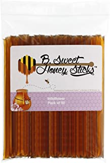 B. Sweet Honey Sticks - Wildflower, 50 ct, 100% All Natural, US Grade A Wildflower Honey, Kosher, Gluten Free, BPA Free.
