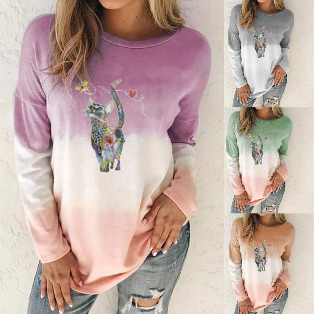 Masbird Sweater for Womens Stylish Long Sleeves Cute Cat Printed Color Block Sweatshirts Pullover Blouse Tops