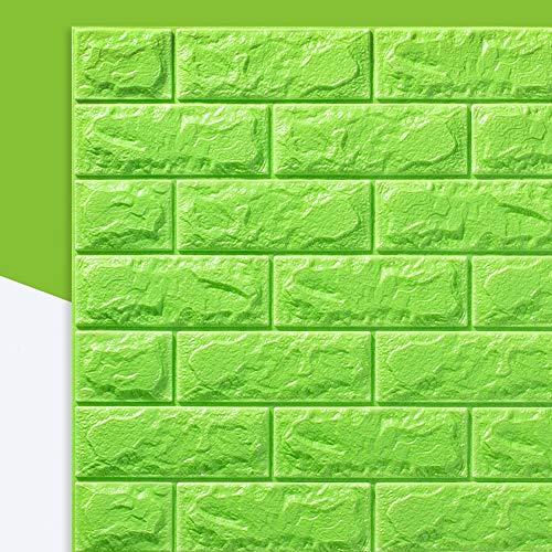 3D-Muursticker Zelfklevende Wandpanelen Waterdicht PE-Schuim Wit Behang Voor Woonkamer TV Muur- En Woondecoratie (Brick 10 Pack - 58 Sq Ft),Green