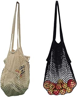 Ahyuan Ecology Reusable Grocery Bags Cotton String Bags Net Shopping Bags Mesh Bags (Long handle Black 2 PACK)