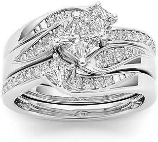 Janly - Anello da donna in oro rosa con diamanti bianchi naturali, per matrimonio, San Valentino
