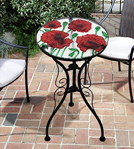Iron/Glass Round Mosaic Design Side Table Garden Outdoor Patio Flower Plant Stand (Poppies)