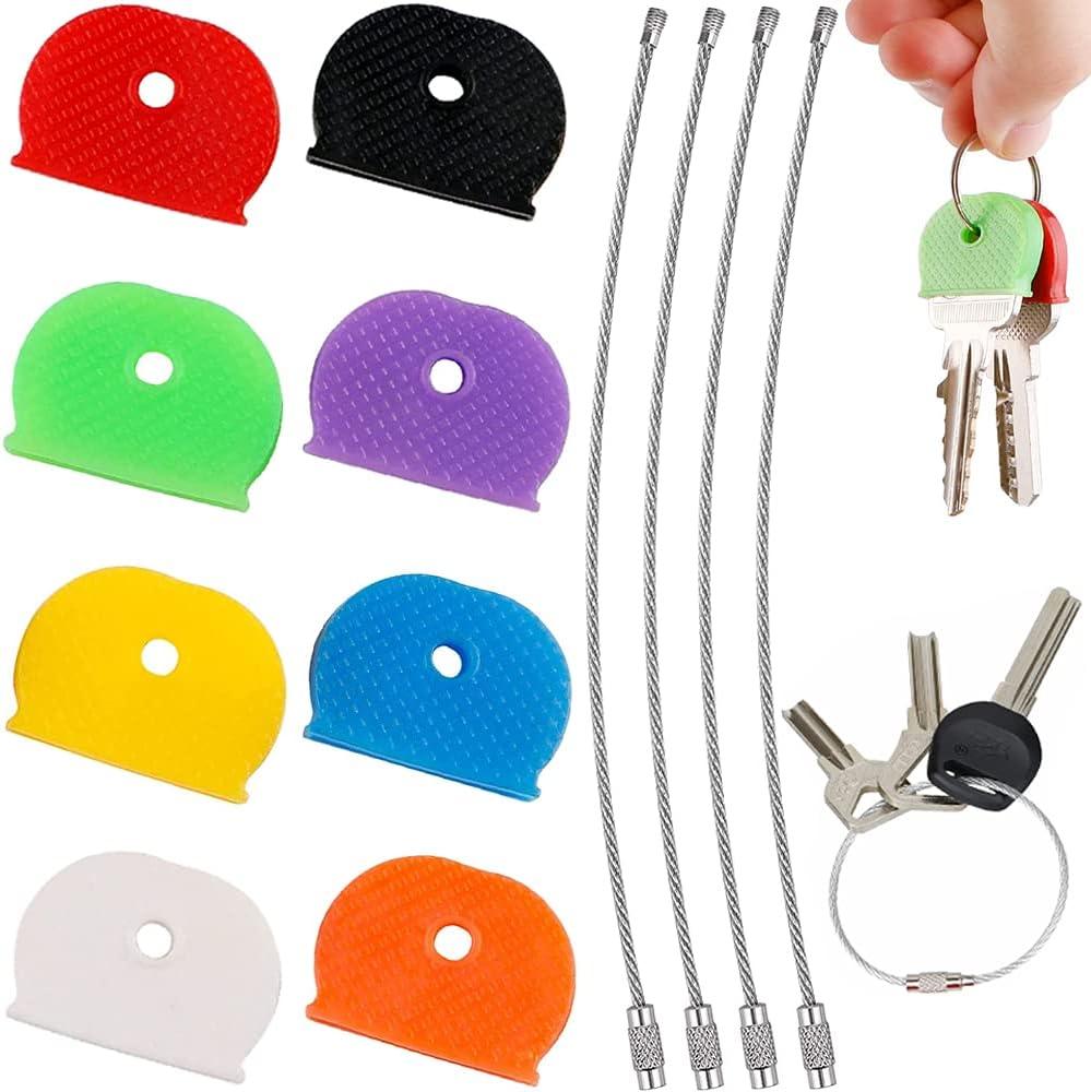 Cubierta de Llave Tapa 32 pcs Goma Universal Semirredonda Key Caps para Fácil Identificación de Llaves de Puerta, 8 Colores