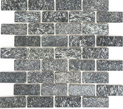 Mozaïek tegel kwariet natuursteen brick kwariet zwart antraciet voor muur badkamer douche keuken tegelspiegel THEKENVERkleding badkuip mozaïekmat mozaïekplaat | 10 mozaïekmatten