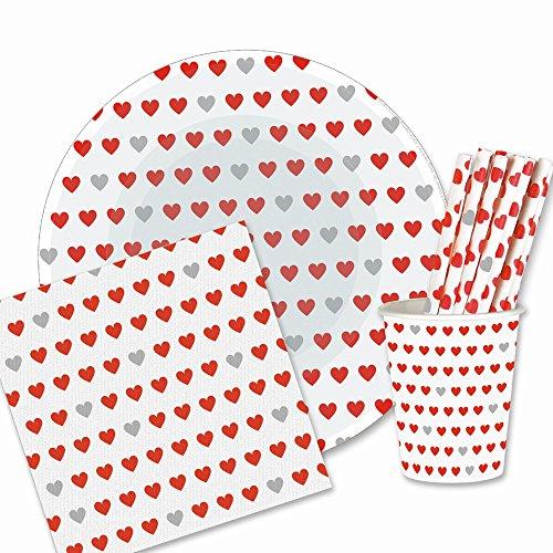 EinsSein 180 TLG. Pappgeschirr Party Set Herz 50x Strohhalme 40x Pappteller 40x Pappbecher 50x Papier Servietten Papiergeschirr Bunte Papierteller Becher Valentinstag