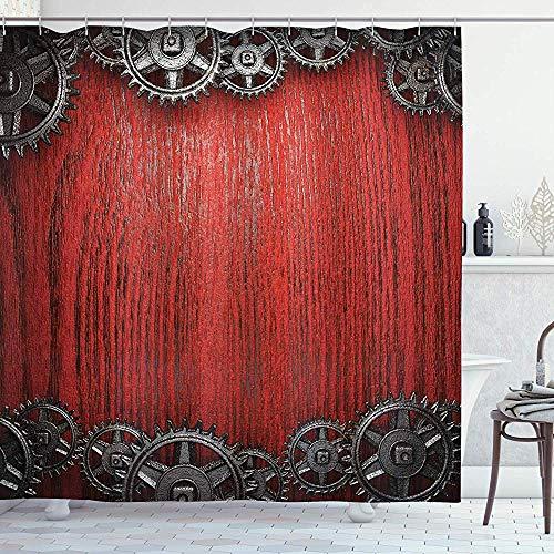 N/A collectie van industriële decoraties, wielen op de bodem van hout, stijl van de klok in een penaal, hout in bordeaux