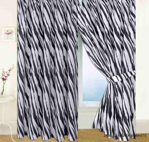 Ready-made Zebra Skin Print Curtains 66' x 72' Includes Matching Tie-Backs