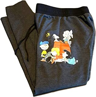 Peanuts Snoopy Charlie Brown Woodstock Women's Juniors Jogger Pant Legging Yoga Pants White