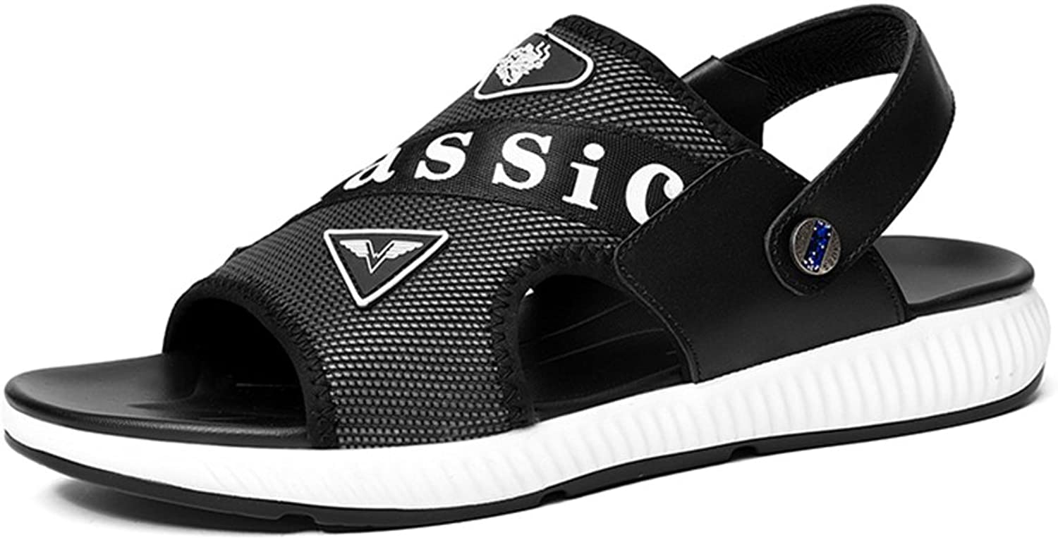 Men's shoes Leather Spring Summer Light Soles Comfort Sandals Walking shoes for Casual Office & Career Outdoor Black, Black and White