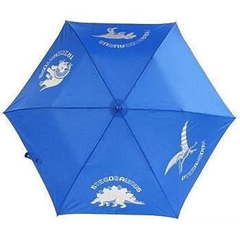 恐竜 4匹 指をはさまない 開閉らくらく 軽量 50cm 折りたたみ傘 子供用傘 (ブルー)