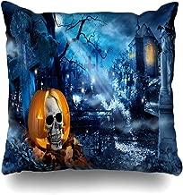 Ahawoso Throw Pillow Cover Vegetable Orange Autumn Horror Fear Pumpkin Skull Night Cross Holidays Castle Dark Evening Evil Home Decor Pillow Case Square Size 20x20 Inches Zippered Pillowcase