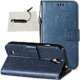 Hülle für Galaxy S4 Leder, SchutzHülle Brieftasche Wallet Flip für Samsung Galaxy S4, TOCASO Case Glitter Strass SchutzHülle Wallet Case Handy Hülle Magnet Card Slots - Marineblau