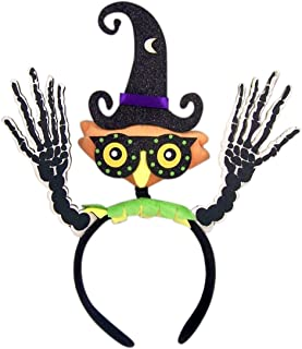 Halloween Plush Owl Headband with Witch Hat and Skeleton Hands