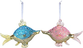 UPROLL Christmas Ornament S/2 Pink & Blue Tropical Fish for Christmas Tree Beach Coastal Decors