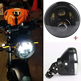 Athiry 7 Inch Black Projector Round Led Headlight 60W Hi/Low Beam Kit 7 Inch Headlamp Housing Bucket Lamp Shell for Motorcycle Honda