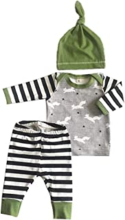 Fiomva 3Pcs/Set Newborn Baby Girl Boy Striped Long Sleeve Tops Pant Hat Outfits Clothes - Green - 0-6 Months