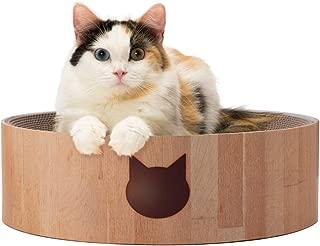 【猫壱】バリバリボウル 猫柄 猫 つめとぎ ダンボール 交換用つめとぎあり 交換可能 ベッドタイプ 丸型 直径40cm 木目調 大型 運動不足解消 ストレス解消 長持ち