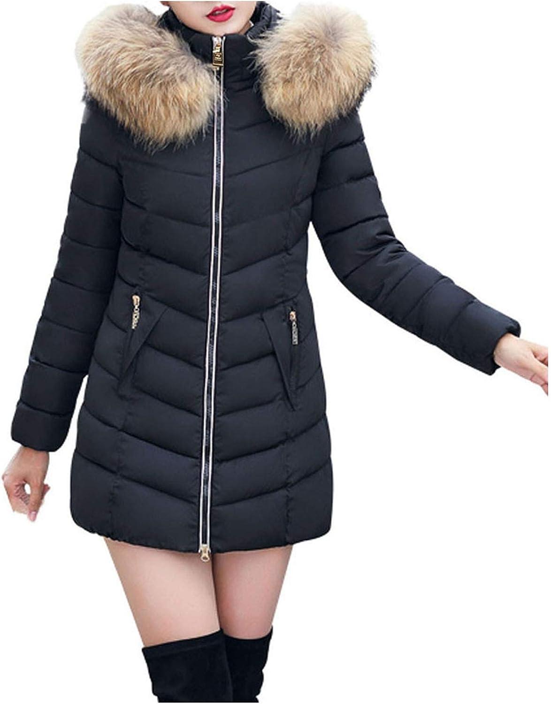 Ikevan Women Faux Fur Lining Coat Winter Warm Thick Long Jacket Solid Parka Hooded Overcoat Fashion Trench Slim Coat Jacket