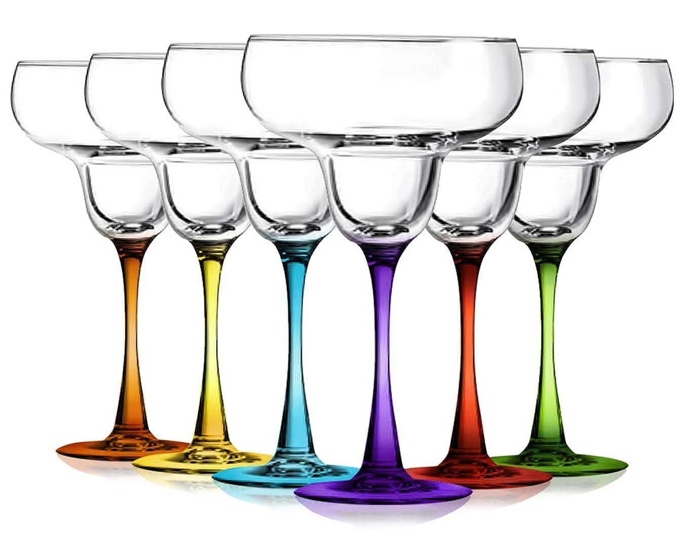 着る争う機械的にMargarita Glassesパーティーセットof 6?with Colored accent-
