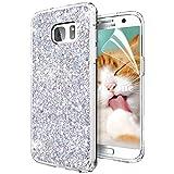 OKZone Cover Samsung Galaxy S7, Custodia Lucciante con Brillantini Glitters Ultra Sottile Designer Case Cover per Samsung Galaxy S7 (Argento)