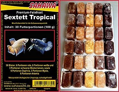 300 Futterportionen, SAHAWA® Sextett Tropical bestehend aus 6x Rote Mückenlarven,6 x weiße Mückenlarven,3 x Muschelfleisch, 3 x Mysis, 6 x Daphnien, 6 x Artemia,1 kg, 10 Blister