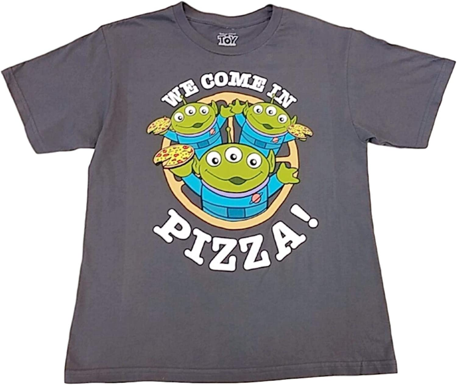 Disney Boys Gray Toy Story Aliens Tee Shirt We Come in Pizza T-Shirt