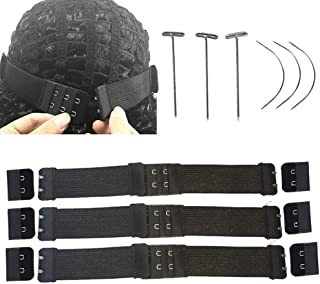 3 Sets Adjustable Elastic Band with Hooks for Wigs, Lace Wigs, Frontal, 3Pcs T Pins and 3Pcs C Curve Needles Sewing, 3Cm Width 10Inch Length Adjustable Wig Band Strap for Wig Making DIY Black Wig Acce
