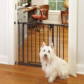 """North States MyPet 38.25"""" Windsor Arch Gate: Heavy Duty Metal Construction with Triple Lock Technology. Pressure Mount. Fits 28.25""""-38.25"""" Wide (28.5"""" Tall, Matte Bronze)"""
