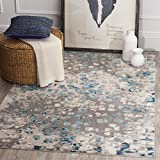Safavieh Monaco Collection MNC225E Boho Chic Abstract Watercolor Non-Shedding Stain Resistant Living Room Bedroom Area Rug, 3' x 5', Grey / Light Blue