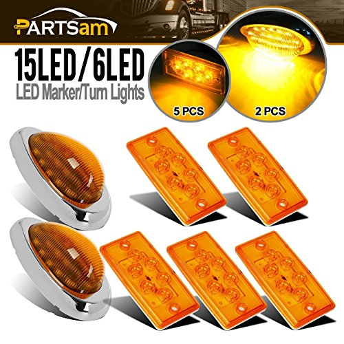 """Partsam Replacement for Volvo/Freightliner Century/Columbia Led Lights Kit, 5X Rectangle Amber 6LED Cab Roof Top Marker Light+2X 5-7/8"""" Teardrop Sleeper Amber Marker Light 15Led"""