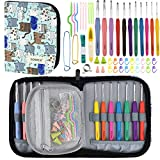 Crochet Hook Set with Case-11 Extra Long Full Size Rubber Soft-Touch Handle Grip Knitting Needles, Contains All The Crochet Accessories Fit Any Projects, Ideal for Crocheters with Art