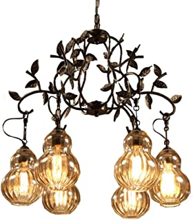 Nordic Creative Chandeliers, Gourd-Shaped Glass Lampshade Pendant Ceiling Light, Cafe Restaurant Bar Retro Chandeliers Hanging Lights